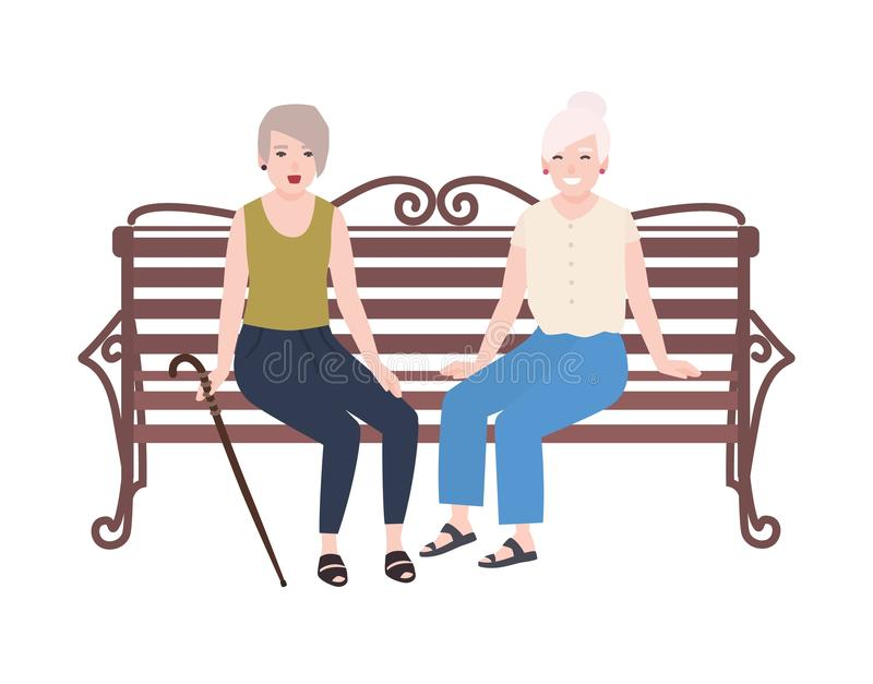Pares de mulheres idosas de sorriso que sentam-se no banco e na fala Reunião feliz de dois senhoras idosas ou amigos Fêmea lisa b ilustração do vetor