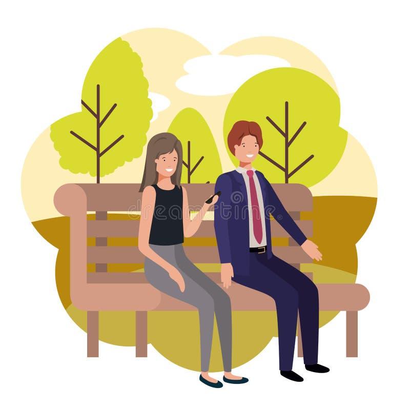 Pares de negócio que sentam-se na cadeira do parque com paisagem ilustração stock