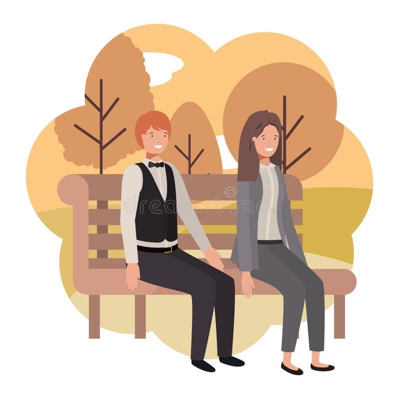 Pares de negócio que sentam-se na cadeira do parque com paisagem ilustração do vetor