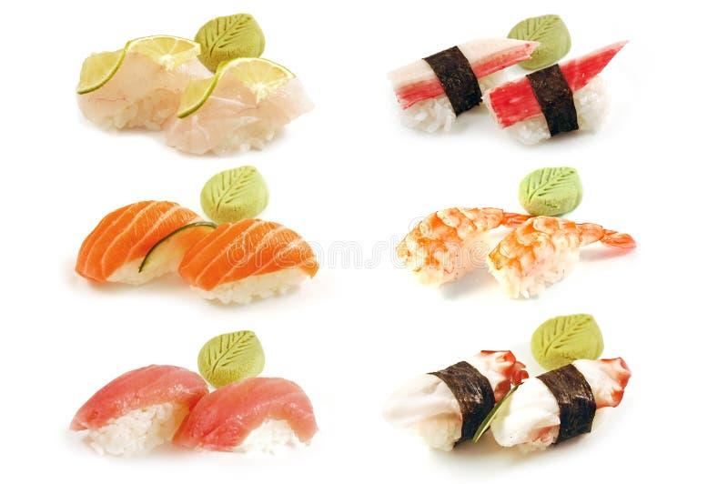 Pares de Nigiri de composición del sushi fotos de archivo