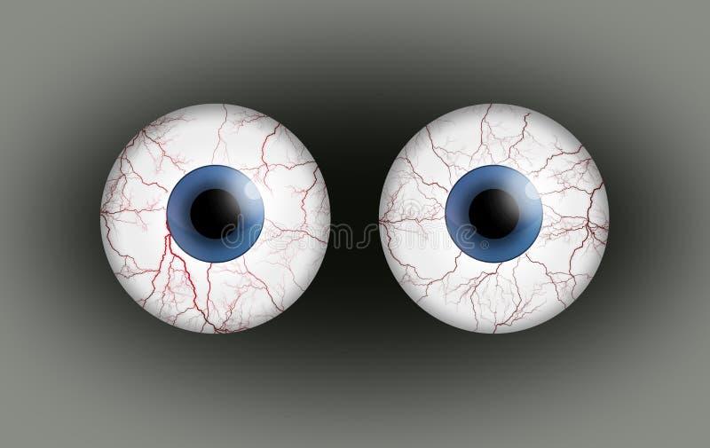 Pares de ojos del tiro de la sangre ilustración del vector