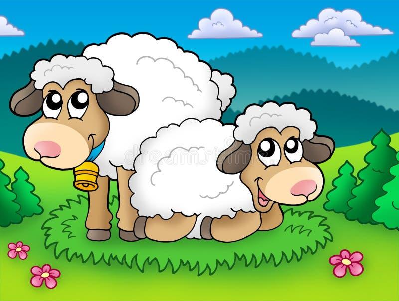 Pares de ovejas lindas en prado libre illustration