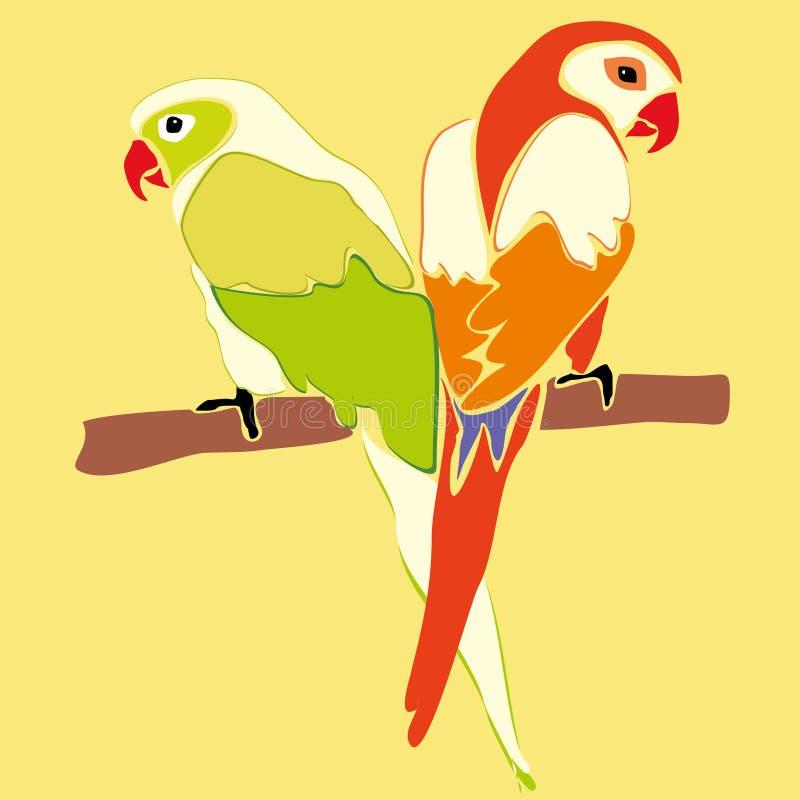 Pares de pájaros en amor en el árbol amantes libre illustration