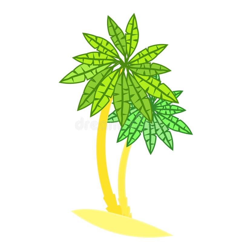 Pares de palmeiras na ilha Ilustração do vetor ilustração stock