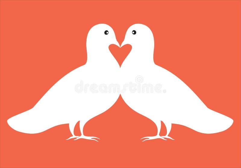 Pares de palomas en tarjeta de la tarjeta del día de San Valentín del ejemplo del amor libre illustration
