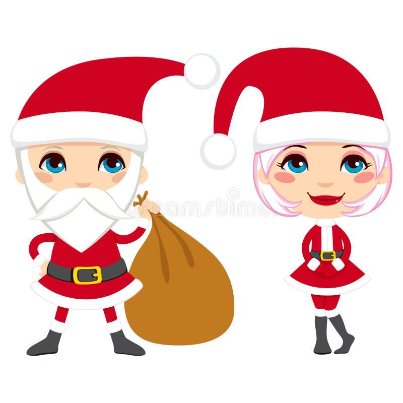 Pares de Papá Noel ilustración del vector