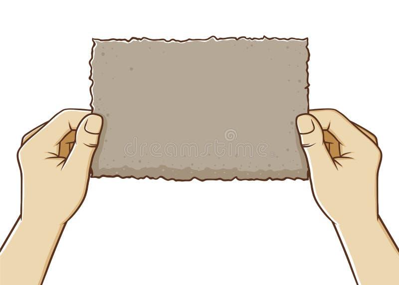 Pares de papel rasgado placa da terra arrendada da mão ilustração royalty free