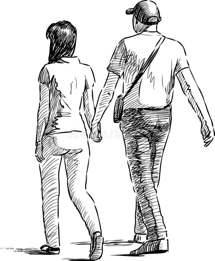 Pares de passeio ilustração royalty free