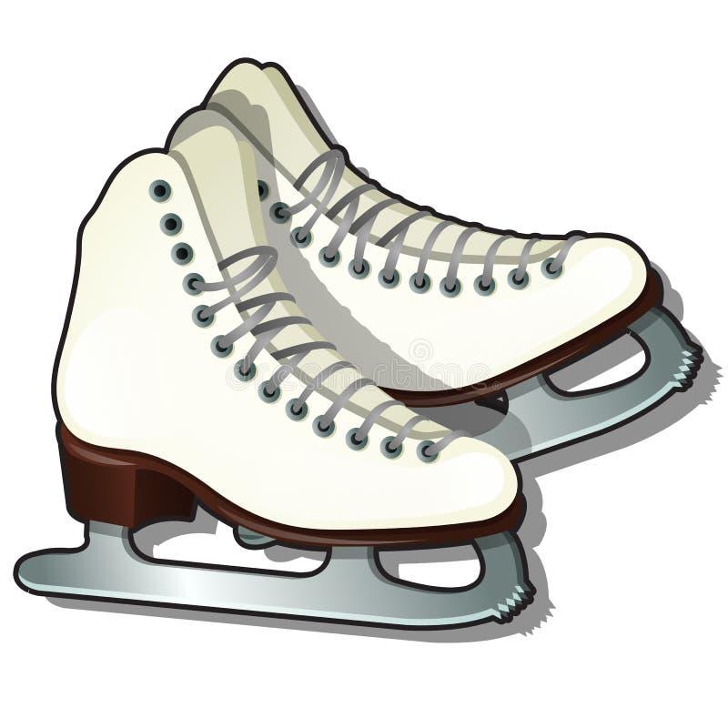 Pares de patines de hielo blancos aislados en el fondo blanco Equipo para los deportes de invierno Muestra de cartel, invitaci?n  libre illustration