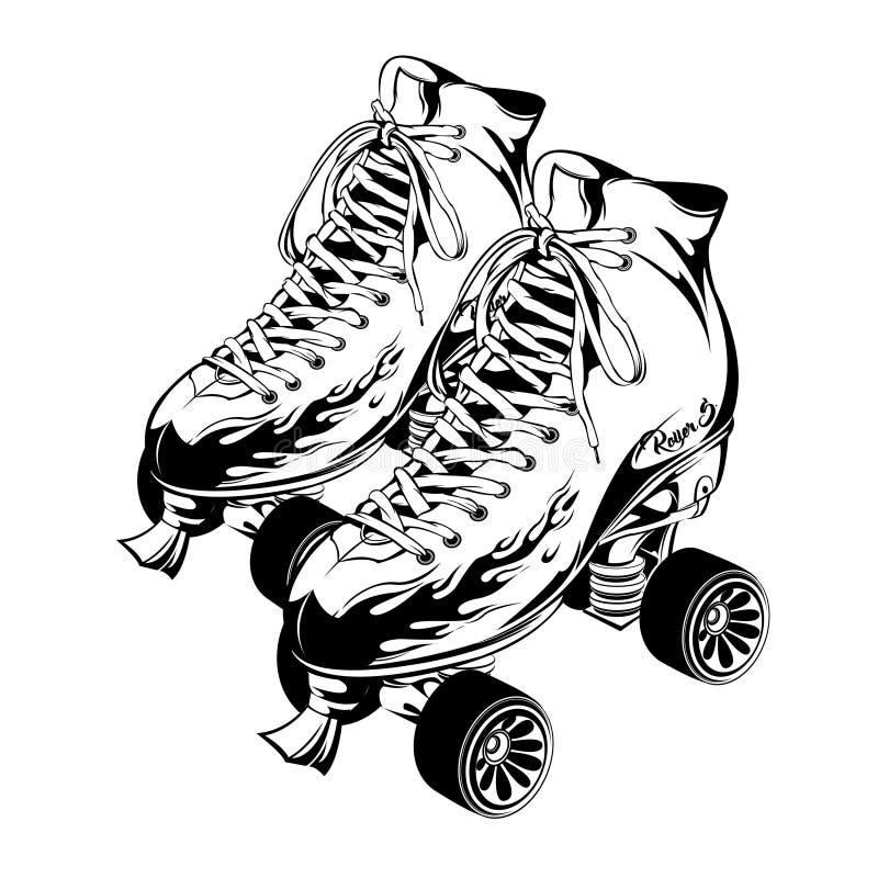 Pares de patins de rolo monocromáticos do quadrilátero ilustração royalty free