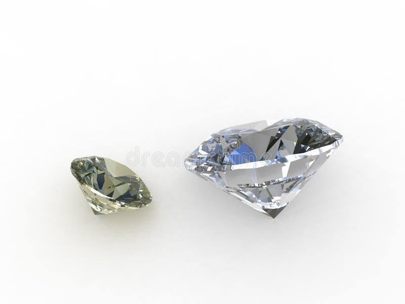 Pares de pedras redondas bonitas do diamante ilustração do vetor