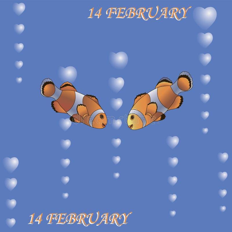 Pares de peixes 14o fevereiro ilustração stock