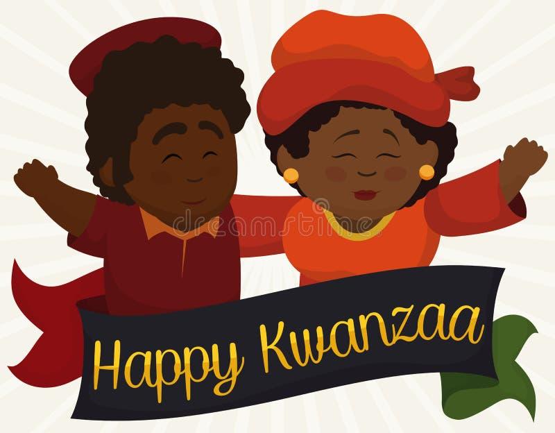 Pares de pele escura felizes que cumprimentam-se para Kwanzaa, ilustração do vetor ilustração stock