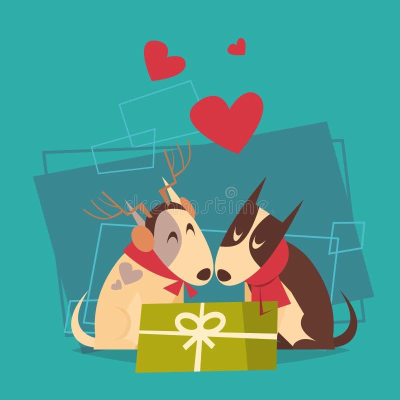 Pares de perros con el icono 2018 del símbolo del zodiaco de la Feliz Año Nuevo de la caja de regalo ilustración del vector