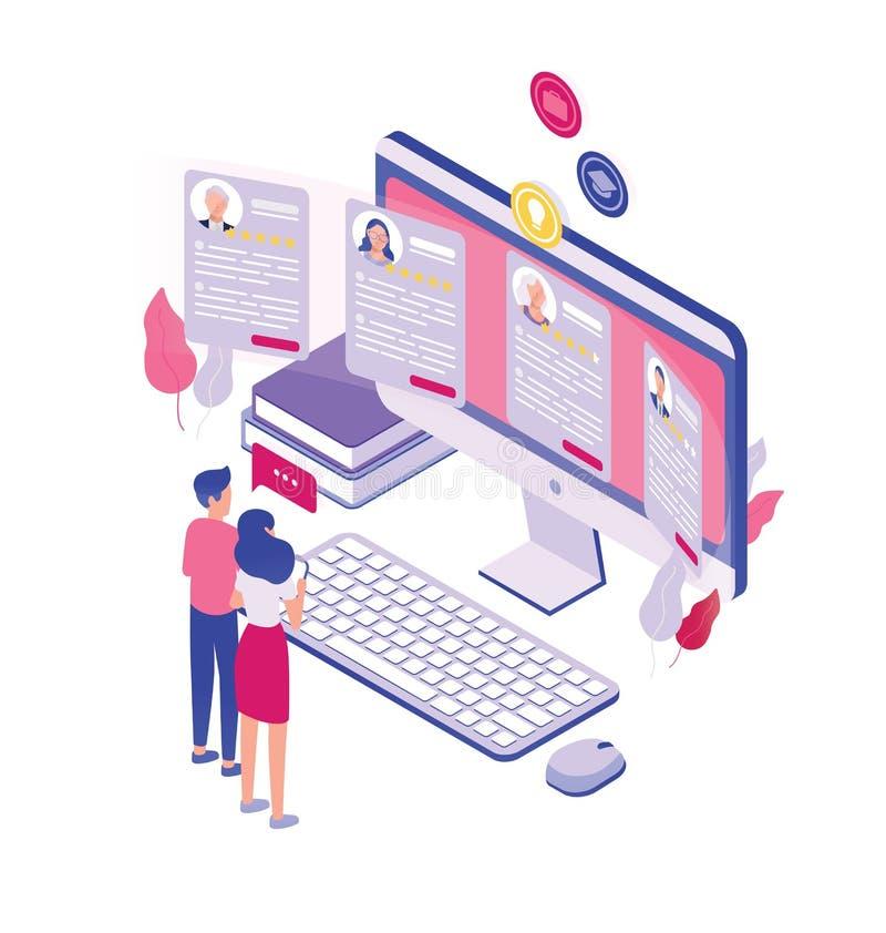 Pares de povos minúsculos que estão na frente do tela de computador gigante e que olham com as candidaturas a cargo isoladas no b ilustração do vetor