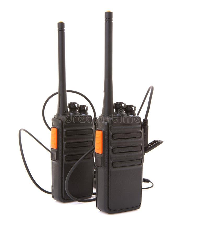 Pares de rádios da maneira do Walkietalkie 2 com auriculares fotografia de stock