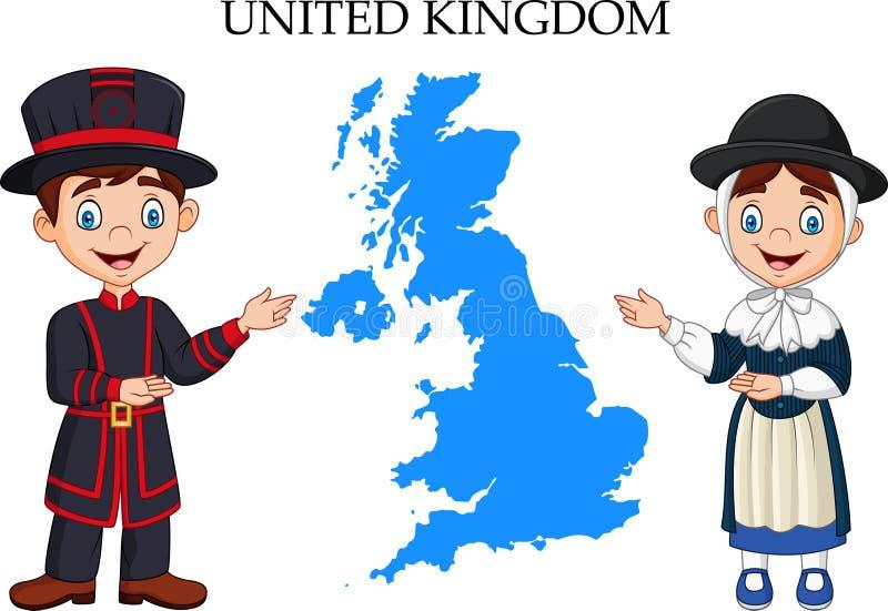 Pares de Reino Unido de la historieta que llevan el traje tradicional libre illustration