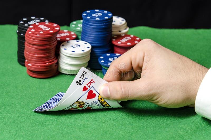 Pares de reis no pôquer imagem de stock