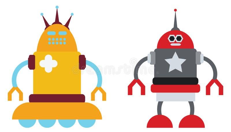 Pares de robôs ilustração stock