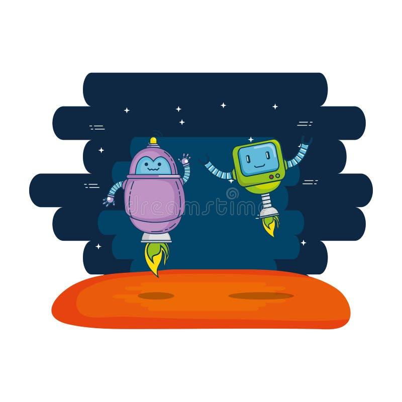 Pares de robots lindos con el fondo del universo libre illustration