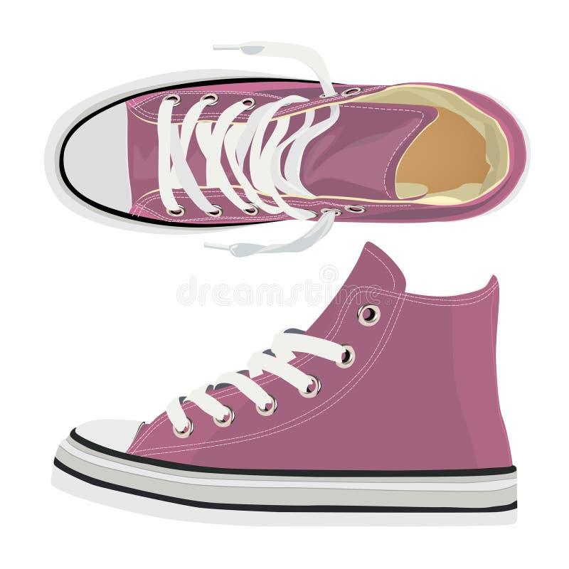 Pares de sapatilhas cor-de-rosa de matéria têxtil Ilustra??o do vetor ilustração royalty free