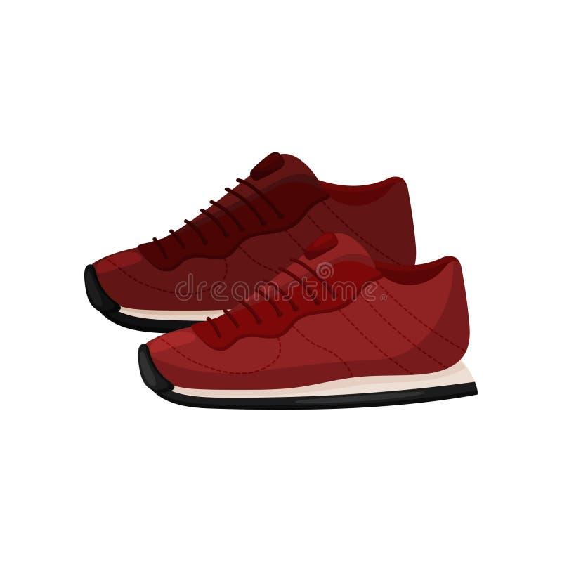 Pares de sapatilhas vermelhas na moda, vista lateral Sapatas macias para esportes Calçados ocasionais com sola de borracha Projet ilustração royalty free