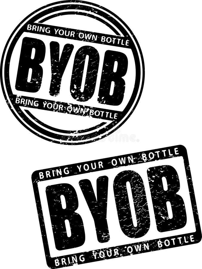Pares de sello de goma negro del estilo del grunge con la abreviatura BYOB - traer su propia botella stock de ilustración