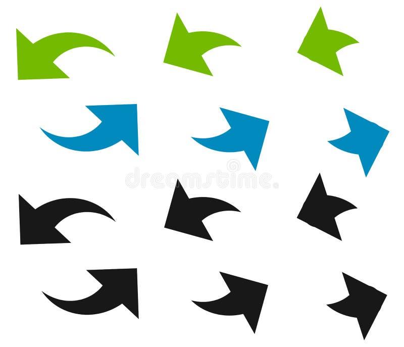 Pares de setas no círculo Setas circulares Reciclagem, laço ou CY ilustração royalty free