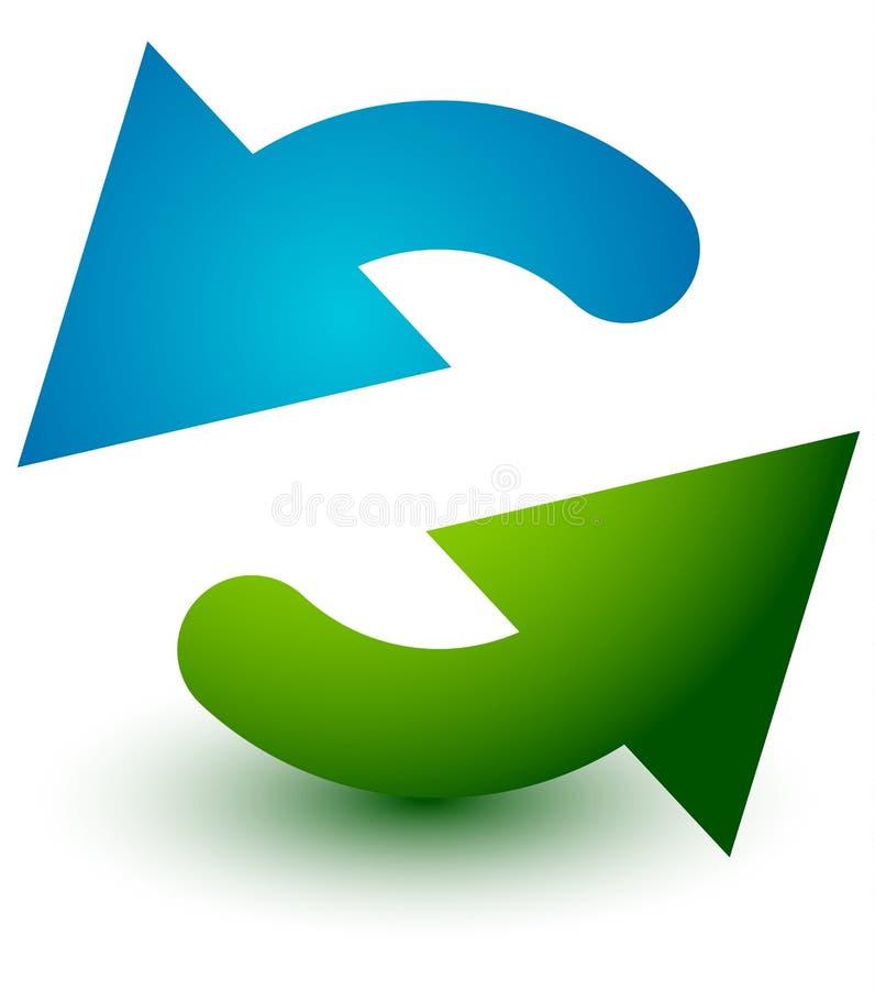 Pares de setas no círculo Setas circulares Reciclagem, laço ou CY ilustração stock