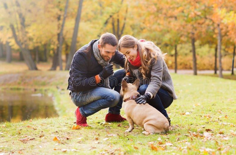Pares de sorriso com o cão no parque do outono fotos de stock royalty free