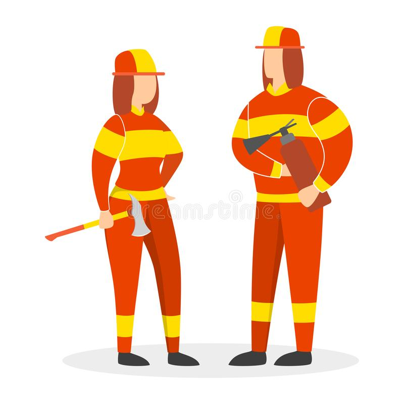 Pares de sorriso felizes do sapador-bombeiro Mulher corajoso e homem ilustração do vetor