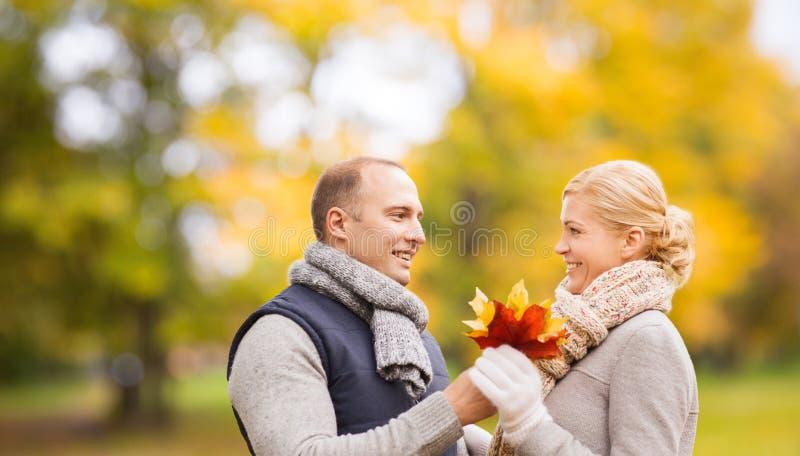Pares de sorriso no parque do outono imagens de stock