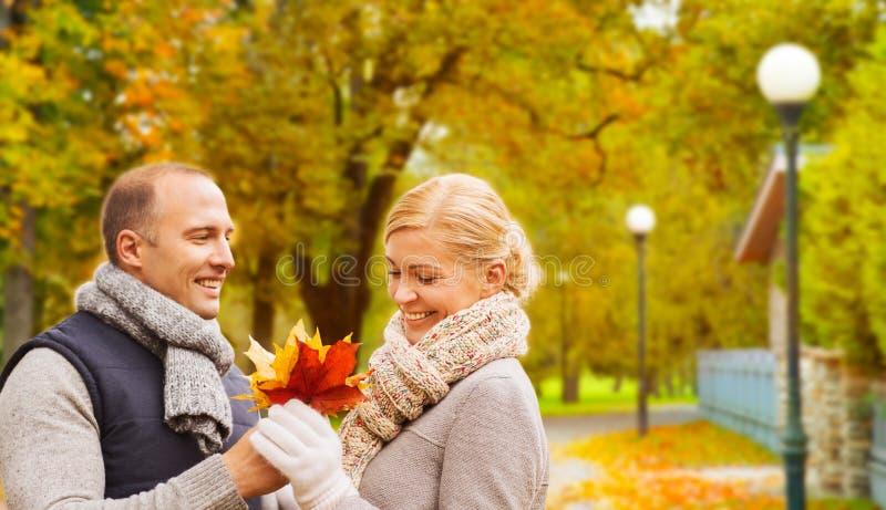 Pares de sorriso no parque do outono imagem de stock royalty free