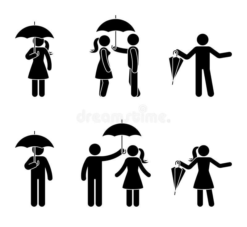 Pares de Stickman con el sistema del icono del paraguas Pictograma negro del accesorio resistente de la lluvia stock de ilustración