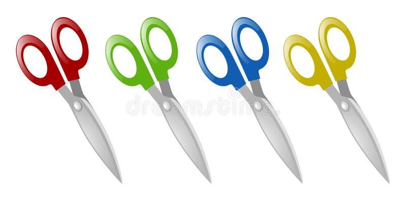 Pares de tesouras em quatro cores ilustração do vetor