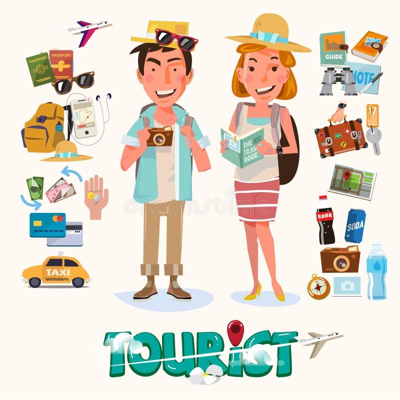 pares de turista com o dispositivo para o curso projeto de caráter - ilustração stock