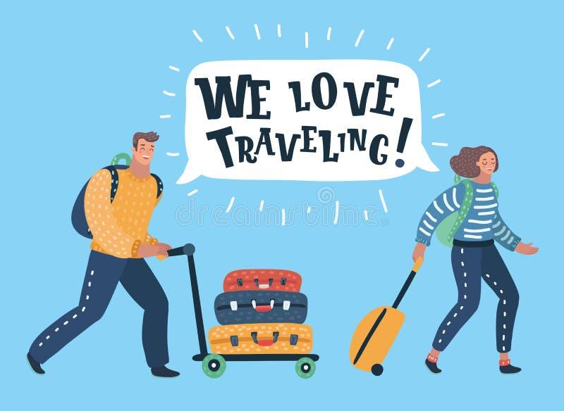 Pares de turistas com saco do curso ilustração royalty free