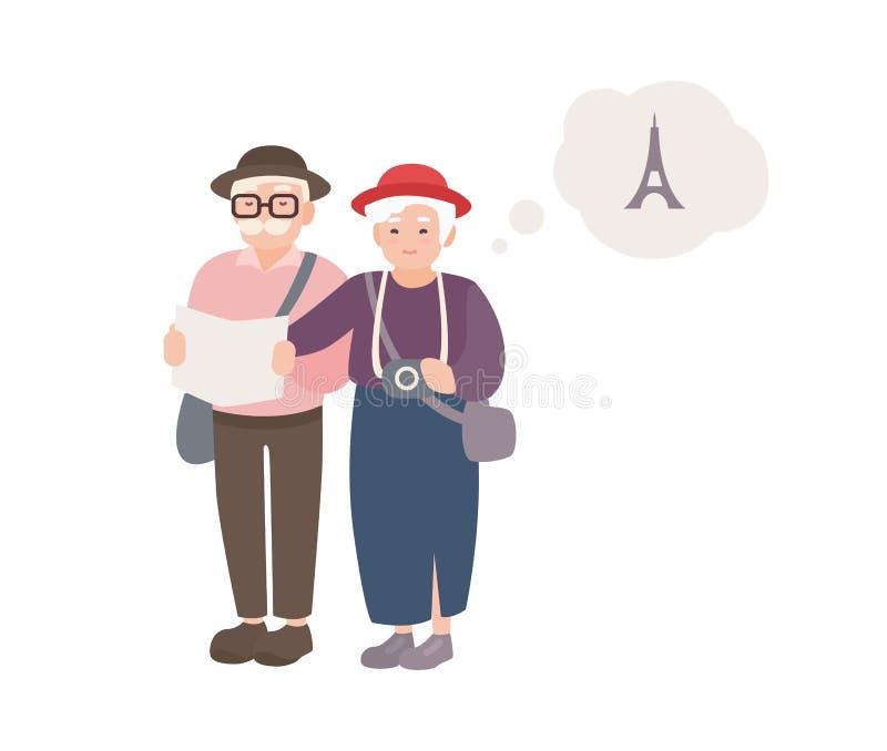 Pares de turistas masculinos e fêmeas idosos de sorriso com mapa Mundo de viagem dos pares velhos felizes Avós em férias dentro ilustração do vetor