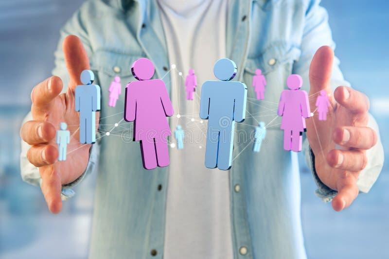 Pares de un hombre y de una reunión de la mujer sobre Internet - renderi 3D fotografía de archivo