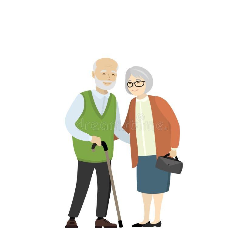Pares de una más vieja gente Abuela y abuelo libre illustration