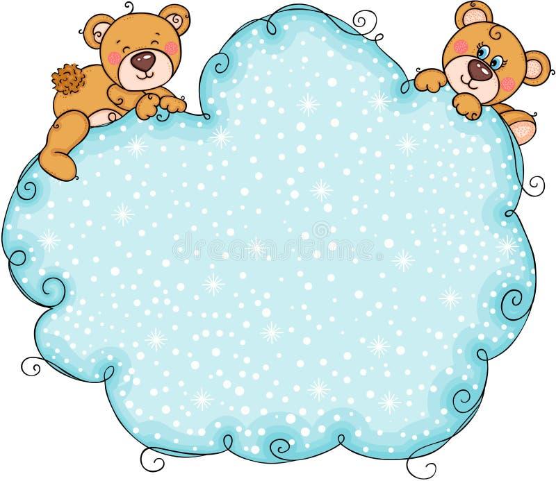 Pares de urso de peluche com fundo azul da nuvem da neve ilustração do vetor