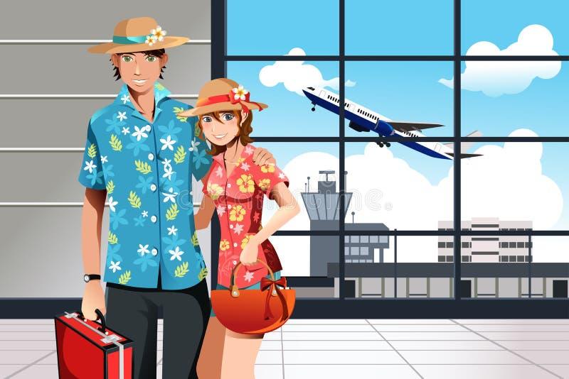 Pares de viagem do verão ilustração royalty free