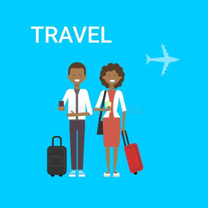 Pares de viajeros con viaje turístico afroamericano joven del hombre y de la mujer del bolso en fondo azul del aire con el aeropl libre illustration