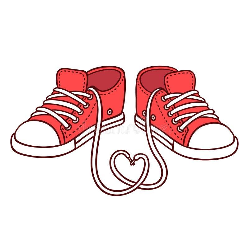 Pares de zapatillas de deporte rojas ilustración del vector