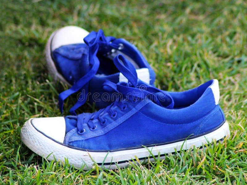 Pares de zapatillas de deporte azules y blancas en la hierba fotos de archivo