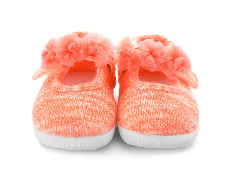 Pares de zapatos de bebé rosados fotos de archivo libres de regalías
