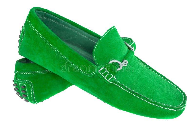 Pares de zapatos de los hombres verdes aislados sobre blanco fotografía de archivo libre de regalías