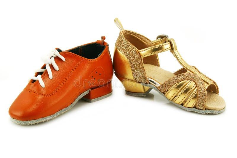Pares de zapatos minúsculos del baile fotografía de archivo