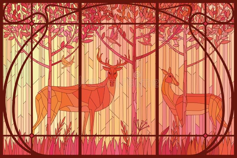 Pares decorativos do vitral de cervos nas madeiras no quadro de Art Nouveau ilustração royalty free