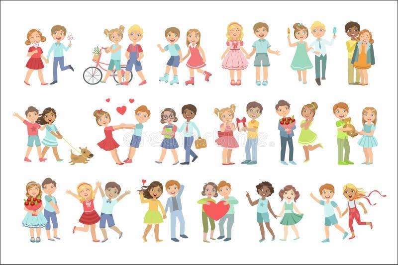 Pares del adolescente en amor ilustración del vector